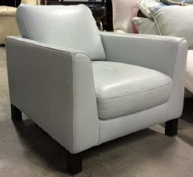 Vintage Pale Blue Leather Arm Chair Arm chair, lounge