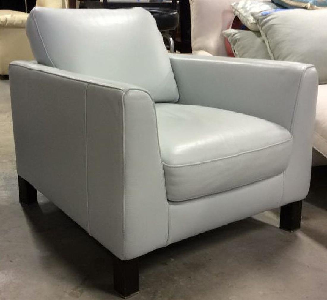 Vintage Pale Blue Leather Arm Chair Arm chair, lounge