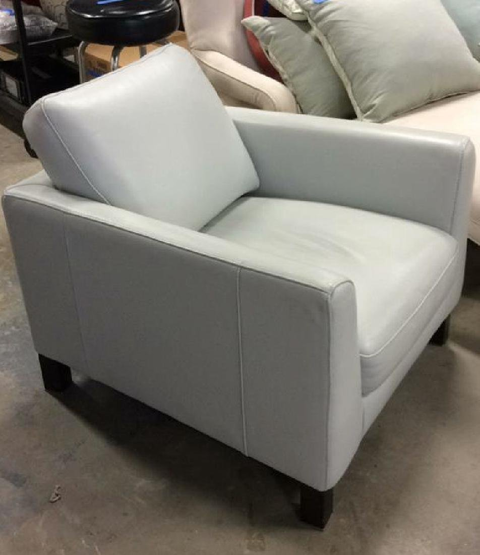 Vintage Pale Blue Leather Arm Chair Arm chair, lounge - 2