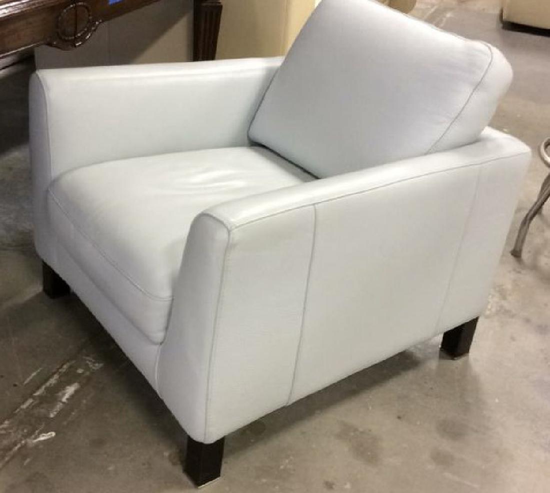 Vintage Pale Blue Leather Arm Chair Arm chair, lounge - 4