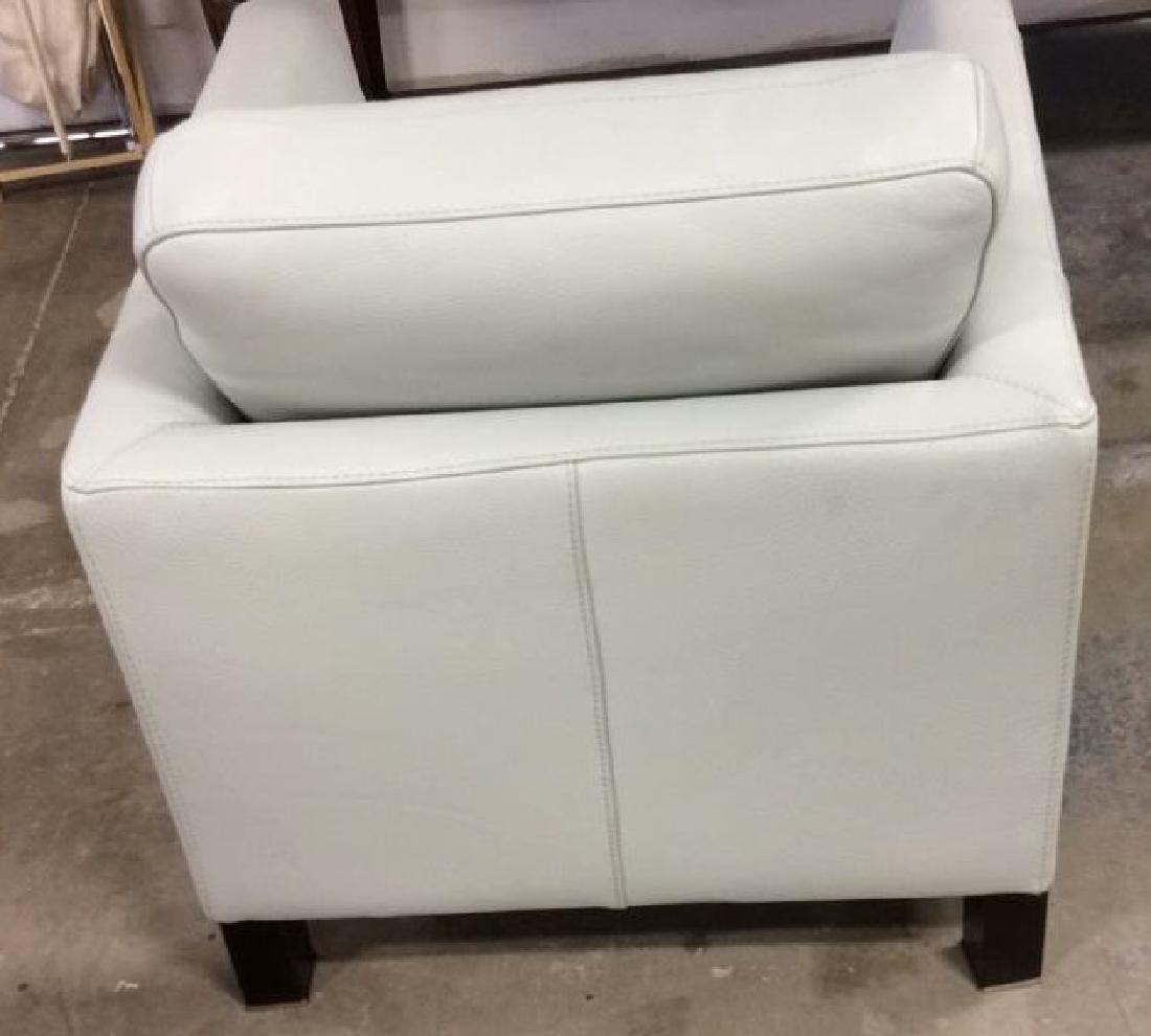 Vintage Pale Blue Leather Arm Chair Arm chair, lounge - 5