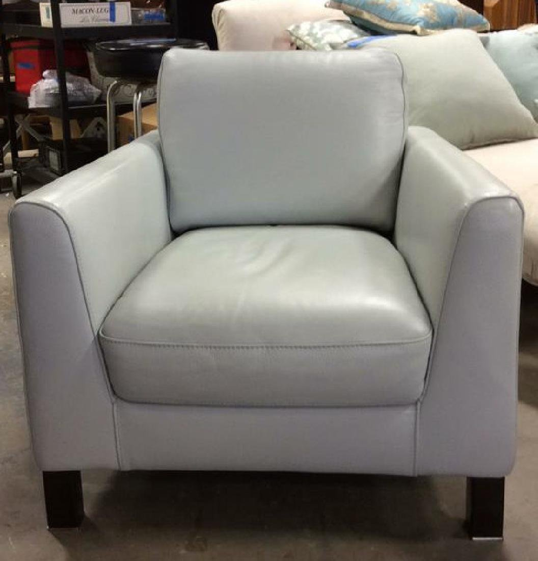 Vintage Pale Blue Leather Arm Chair Arm chair, lounge - 6