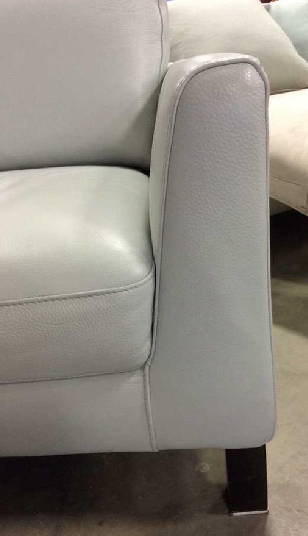 Vintage Pale Blue Leather Arm Chair Arm chair, lounge - 7