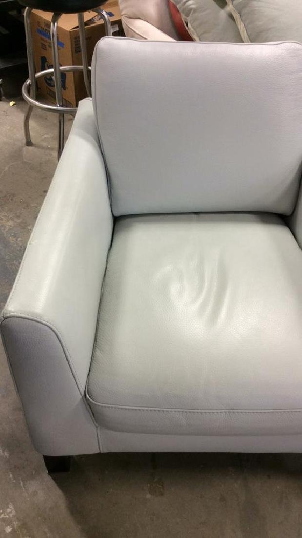 Vintage Pale Blue Leather Arm Chair Arm chair, lounge - 8