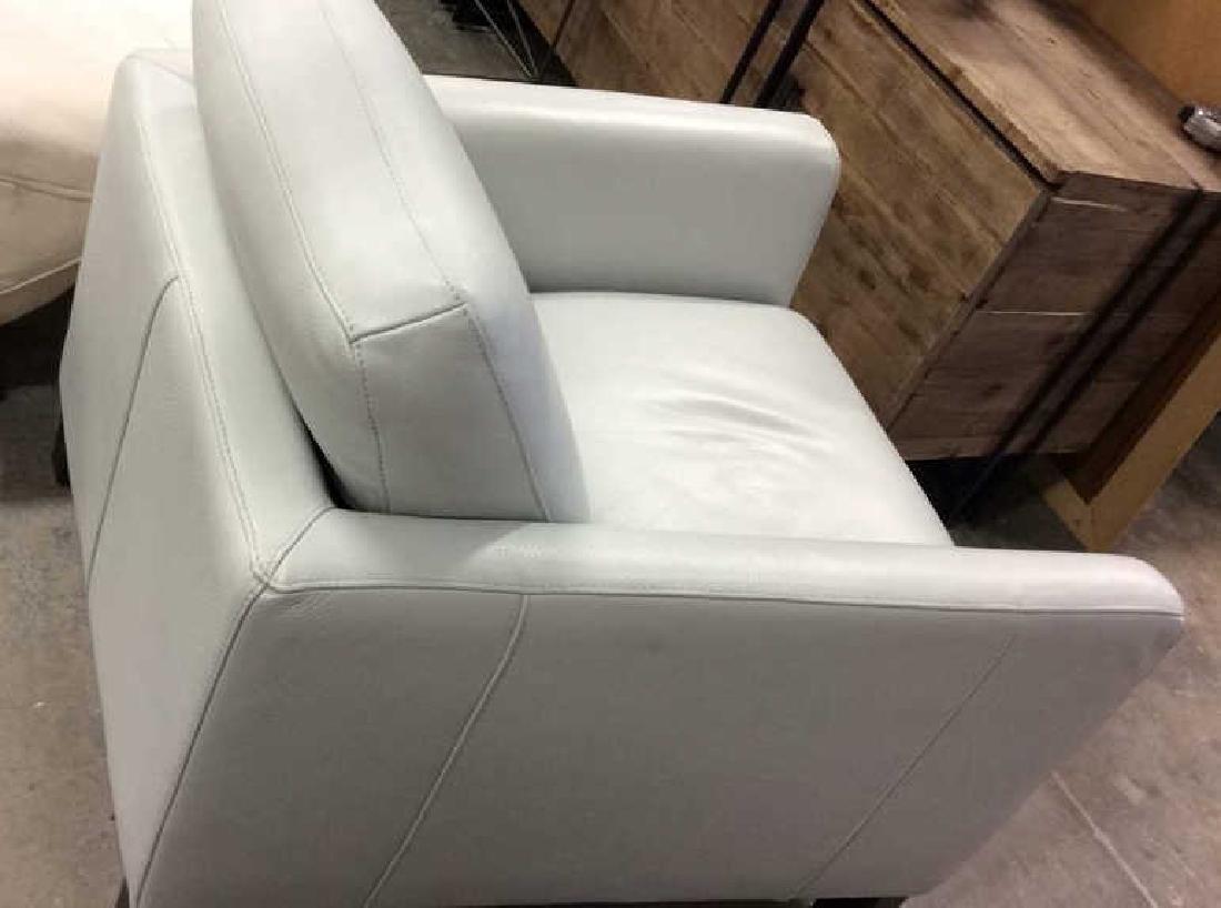 Vintage Pale Blue Leather Arm Chair Arm chair, lounge - 9