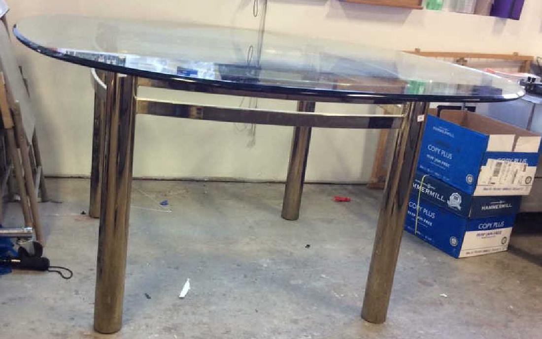 1970's Brass Glass Dining Table Brass Cylindrical legs