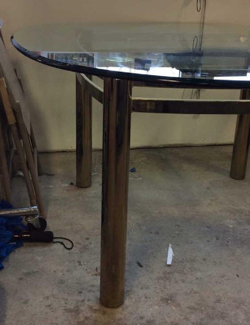 1970's Brass Glass Dining Table Brass Cylindrical legs - 2