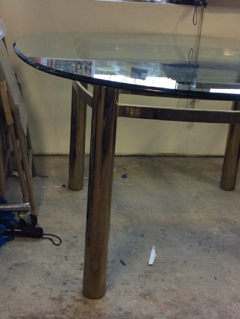 1970's Brass Glass Dining Table Brass Cylindrical legs - 5