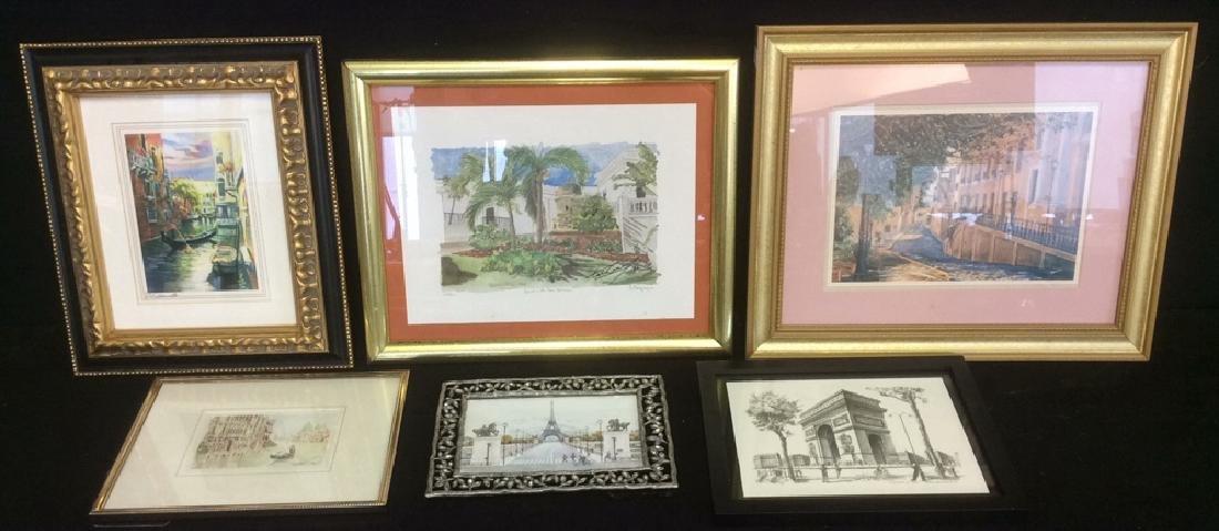Group of 6  Framed Artwork Prints Six framed artwork,