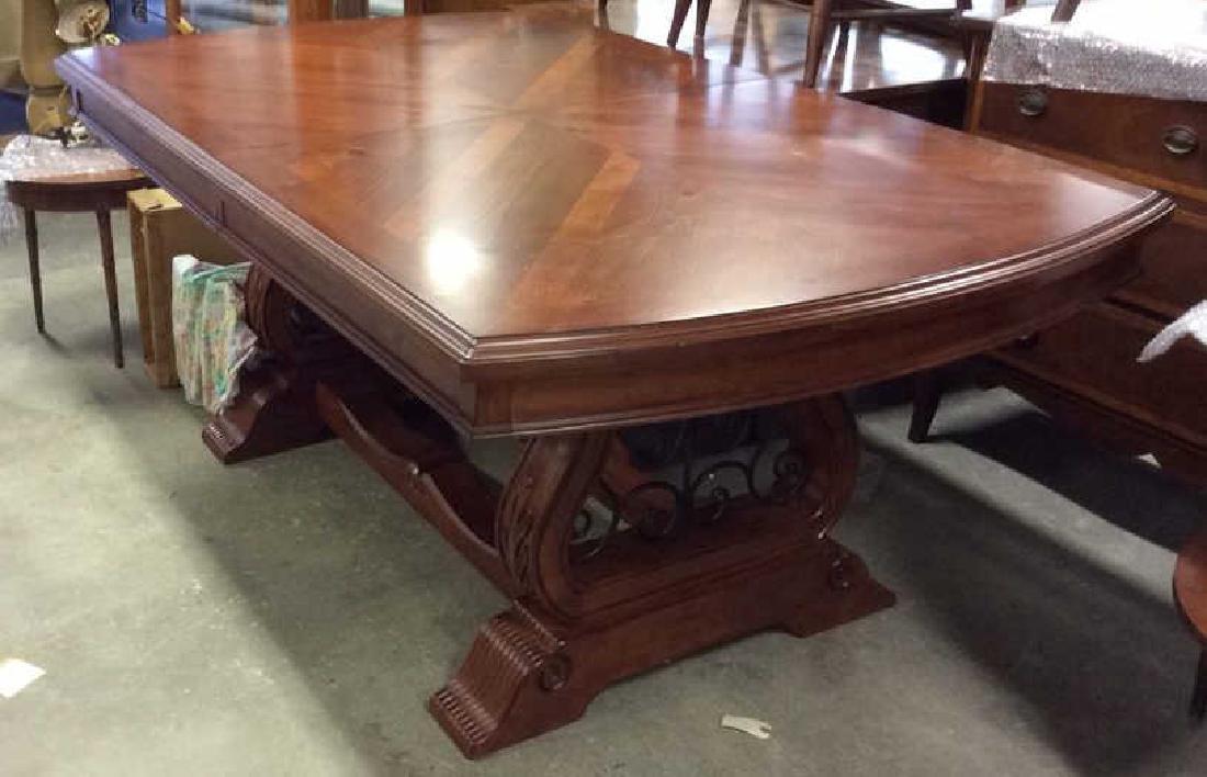 Wood Iron Trestle Style Dining Table Cherry wood