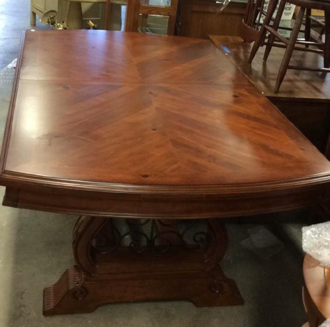Wood Iron Trestle Style Dining Table Cherry wood - 2