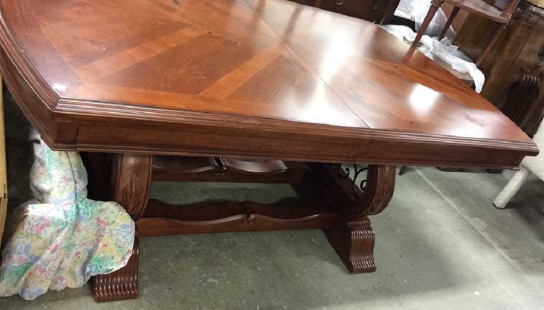 Wood Iron Trestle Style Dining Table Cherry wood - 6