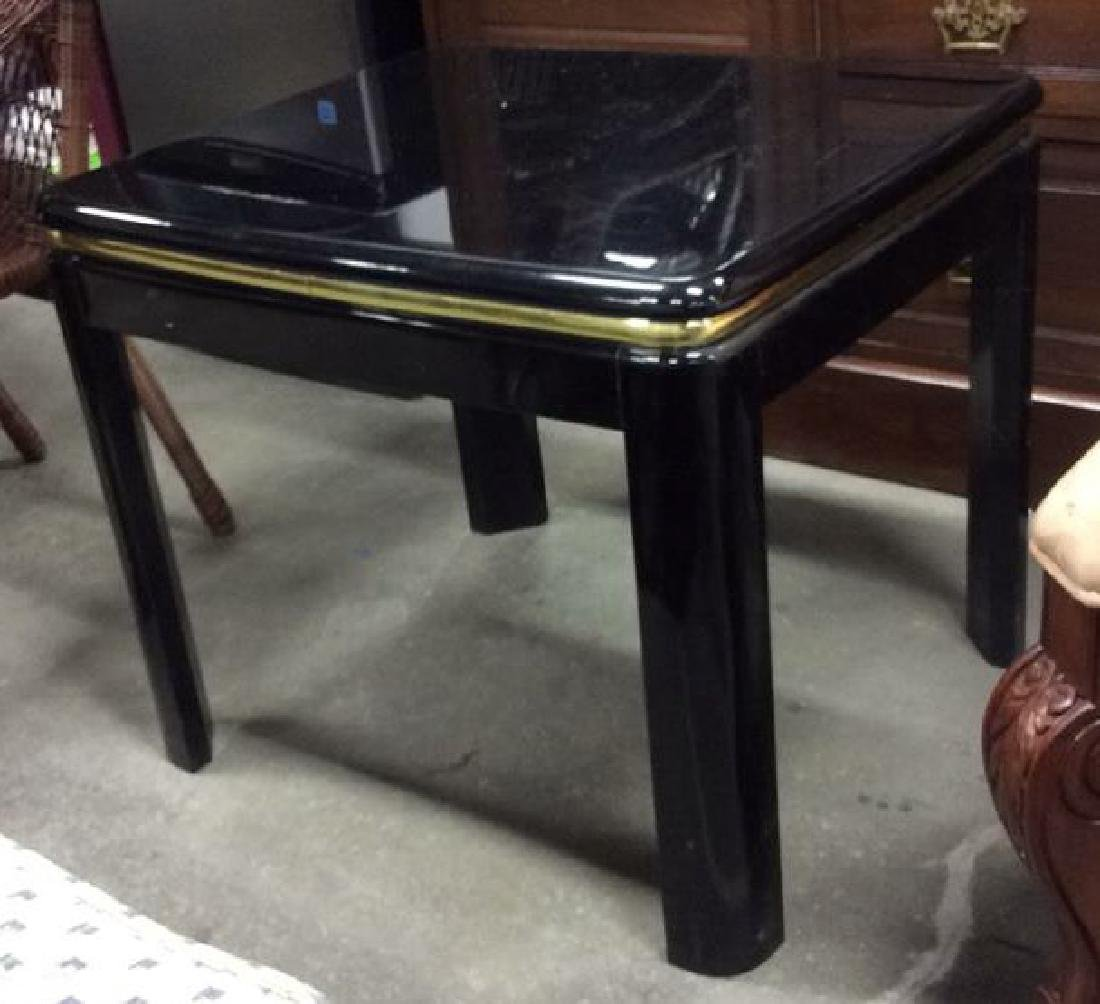 Brass and Black Lacquer End Table End table side table