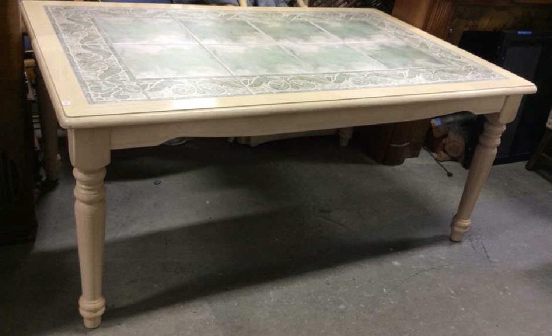 Light Wood Tile Feel Center Dining Table Dining table