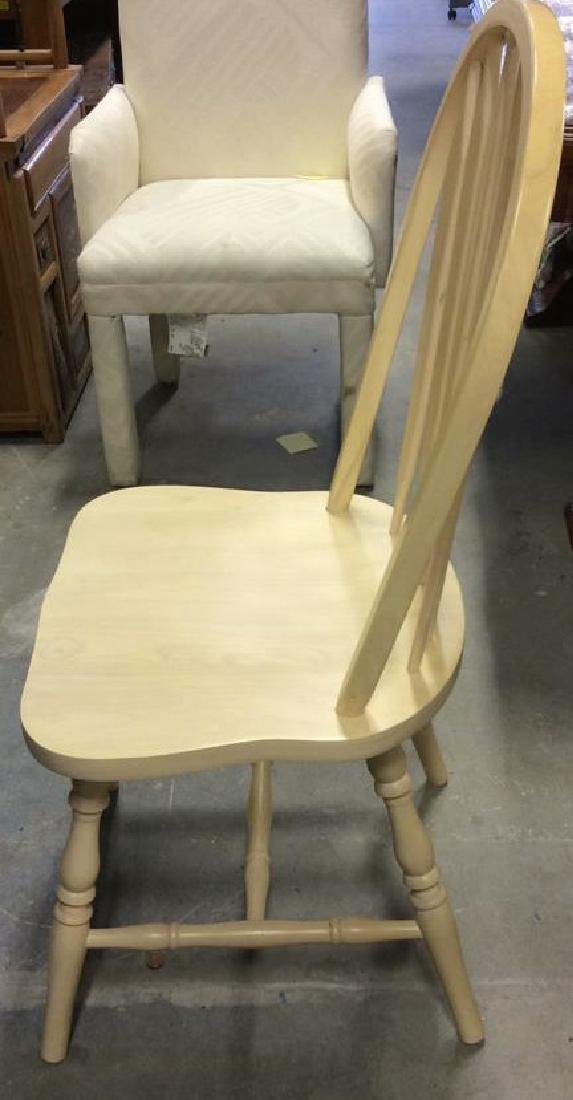 Set 3 light wood Windsor style chairs Dining chairs, - 4