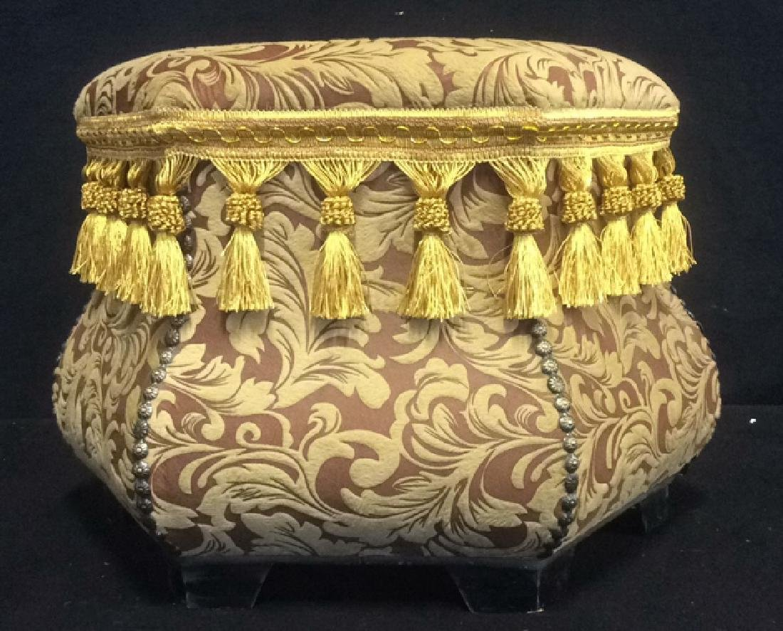 Ottoman Upholstered Nail Head and Fringe Trim Hexagon