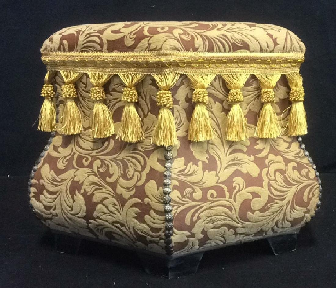 Ottoman Upholstered Nail Head and Fringe Trim Hexagon - 2