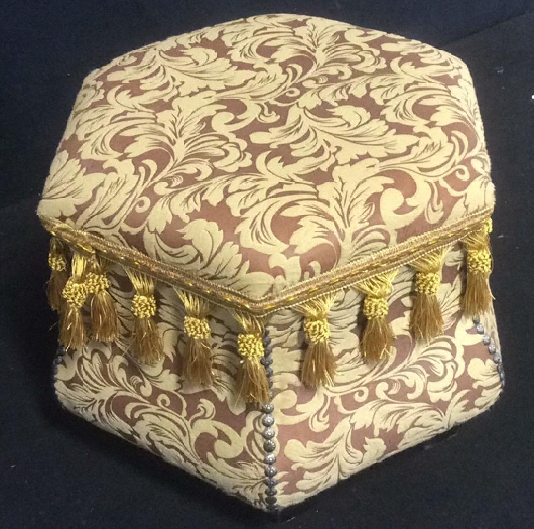 Ottoman Upholstered Nail Head and Fringe Trim Hexagon - 4