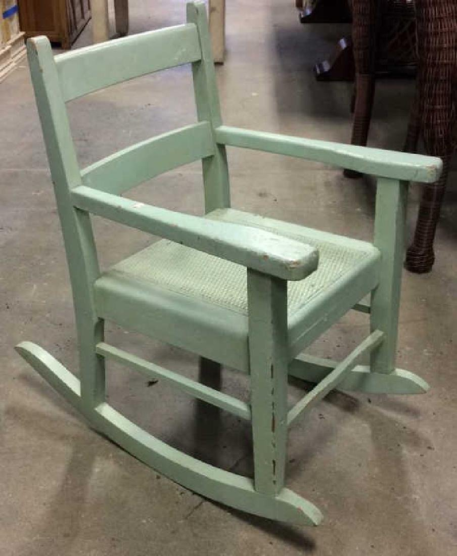 Green Painted Antique Music Chair Child's rocking