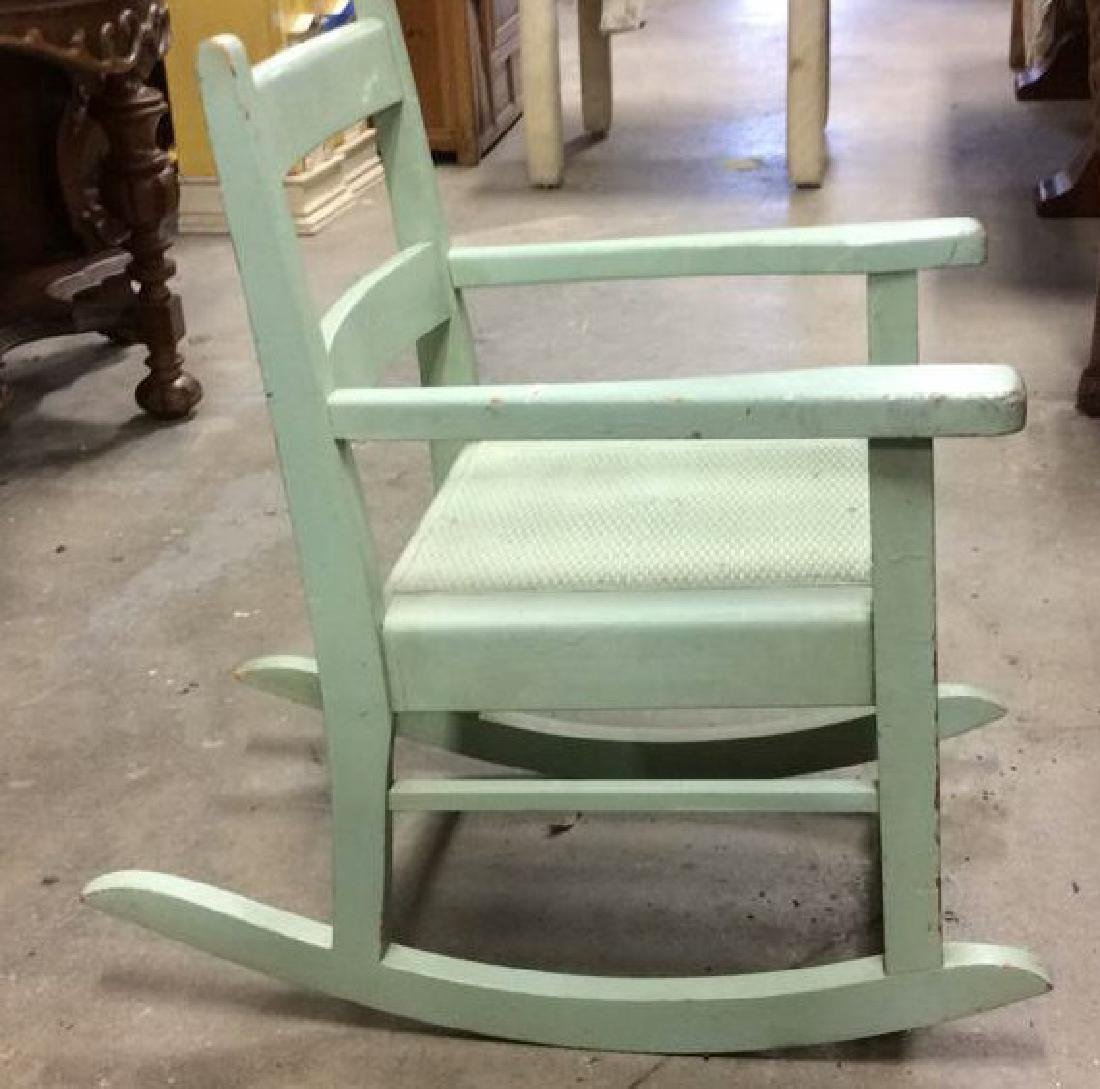 Green Painted Antique Music Chair Child's rocking - 2