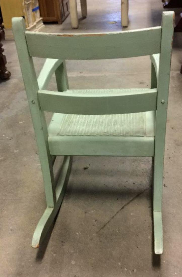Green Painted Antique Music Chair Child's rocking - 3