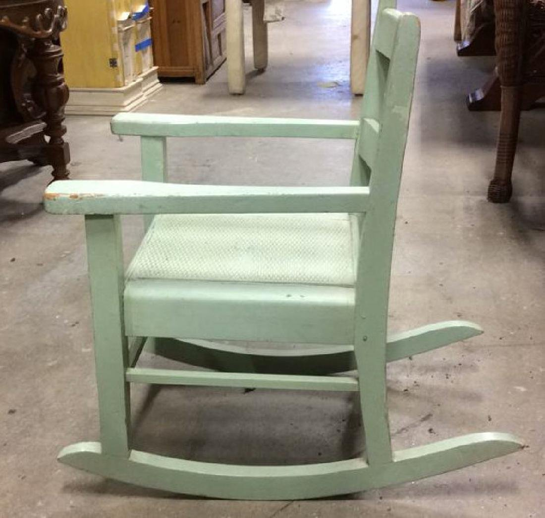 Green Painted Antique Music Chair Child's rocking - 4