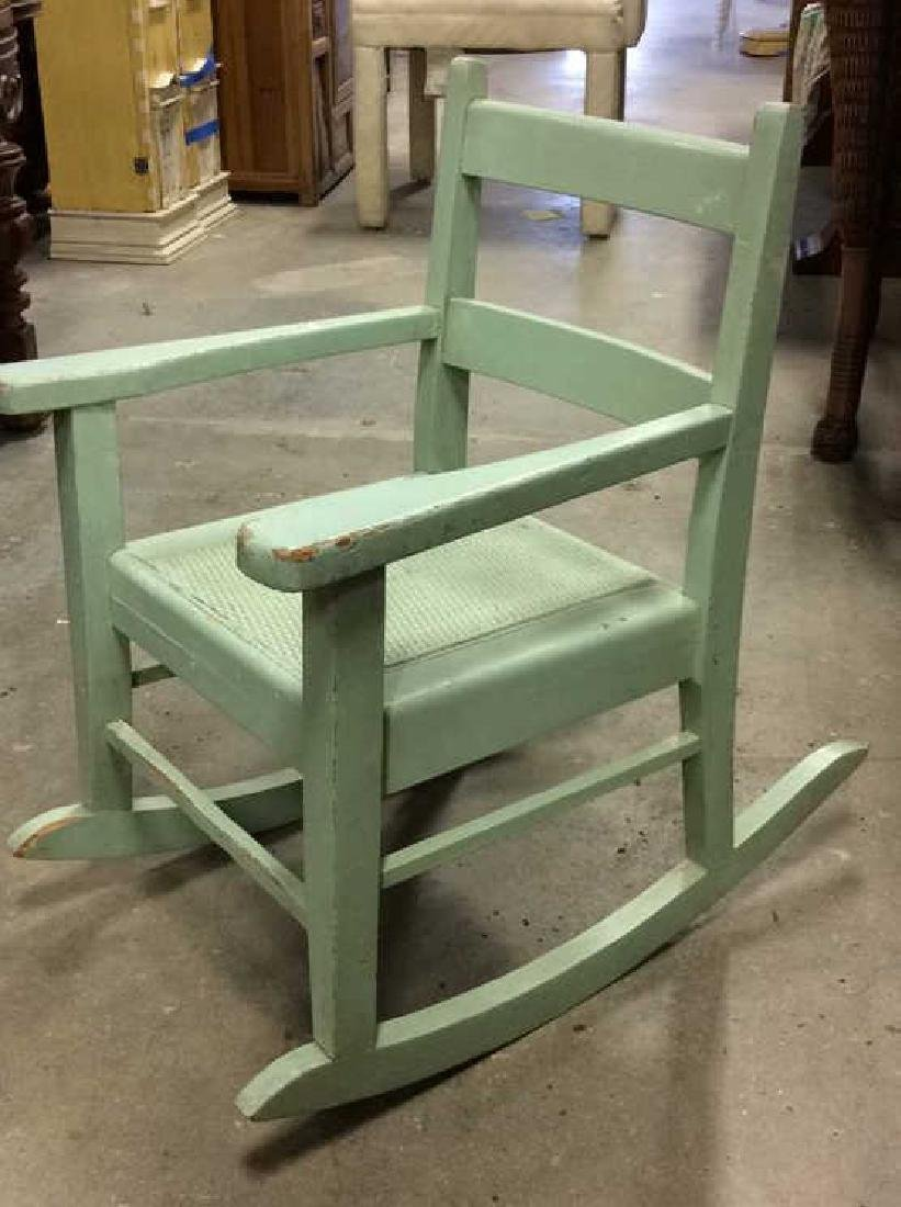 Green Painted Antique Music Chair Child's rocking - 5