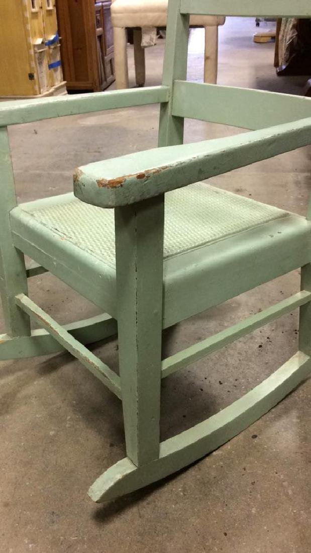 Green Painted Antique Music Chair Child's rocking - 6