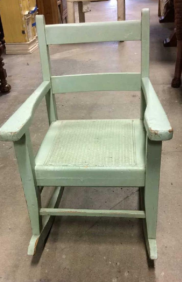 Green Painted Antique Music Chair Child's rocking - 7