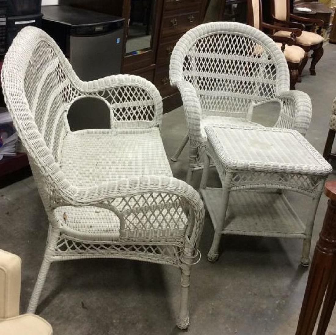 Vintage White Wicker Parlor Set Vintage indoor out door