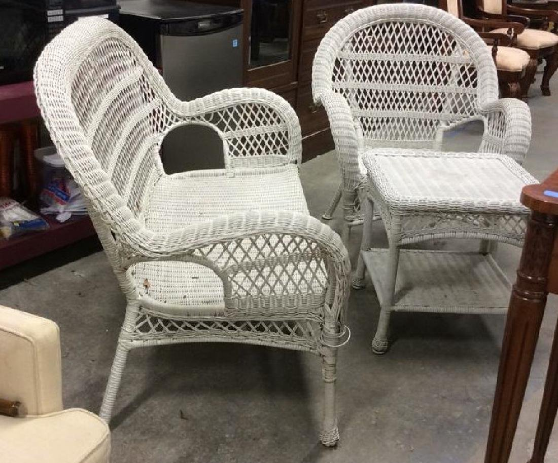Vintage White Wicker Parlor Set Vintage indoor out door - 2