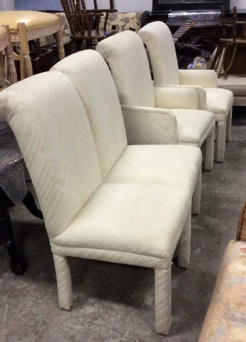Set 4 Upholstered Parsons Style Chairs 2 arm chairs 2