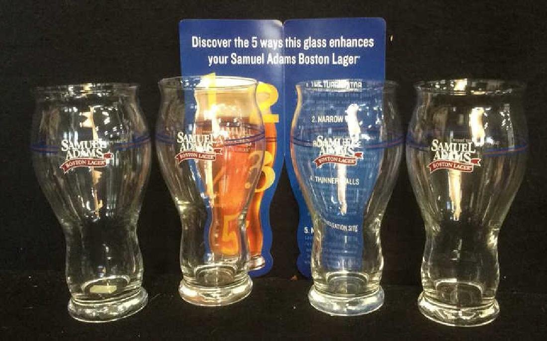 Set of 4 Samuel Adams Boston Lager Beer Glasses These