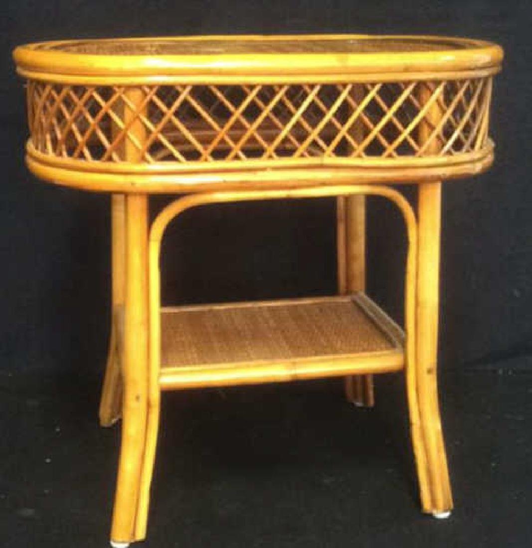 Rattan and Wicker Oval Top Table with Shelf Oval top