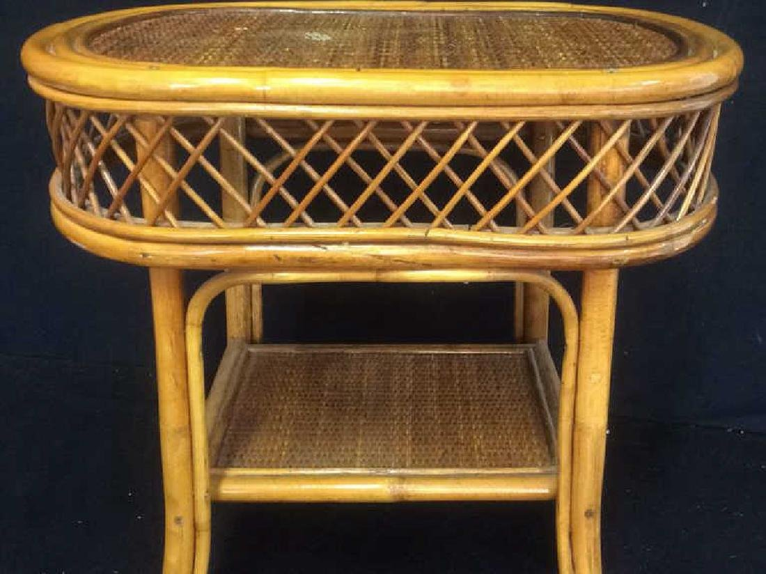 Rattan and Wicker Oval Top Table with Shelf Oval top - 2