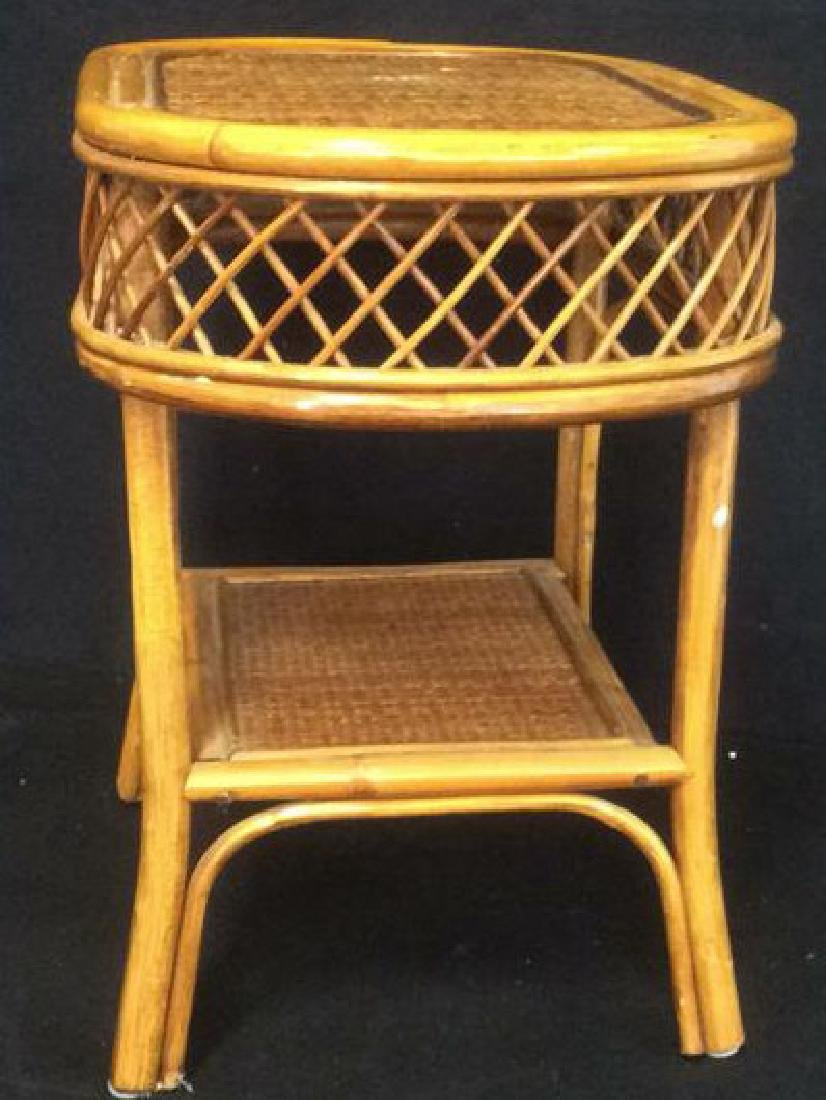Rattan and Wicker Oval Top Table with Shelf Oval top - 3