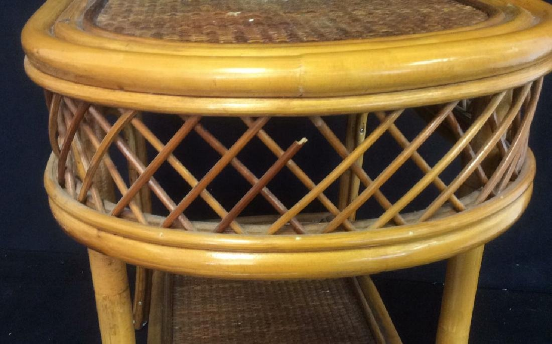 Rattan and Wicker Oval Top Table with Shelf Oval top - 4