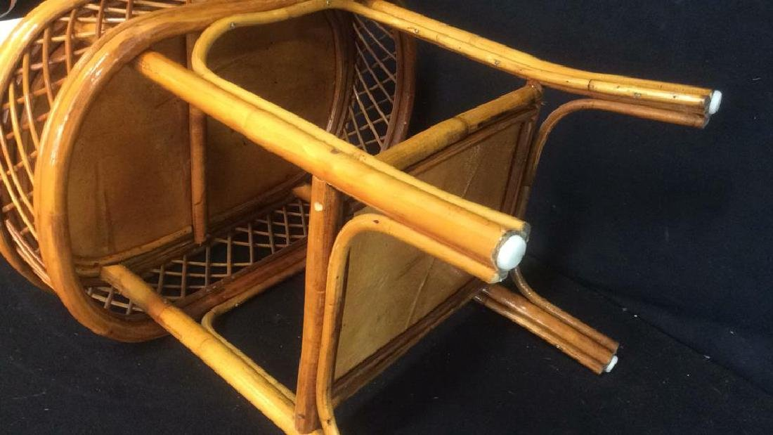 Rattan and Wicker Oval Top Table with Shelf Oval top - 5