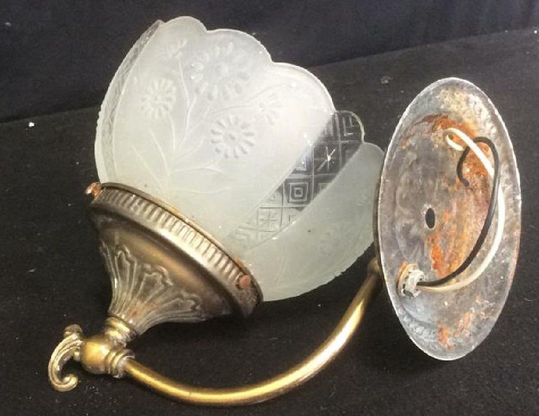 Vintage Brass and Glass Wall Mount Light Fixtures - 2