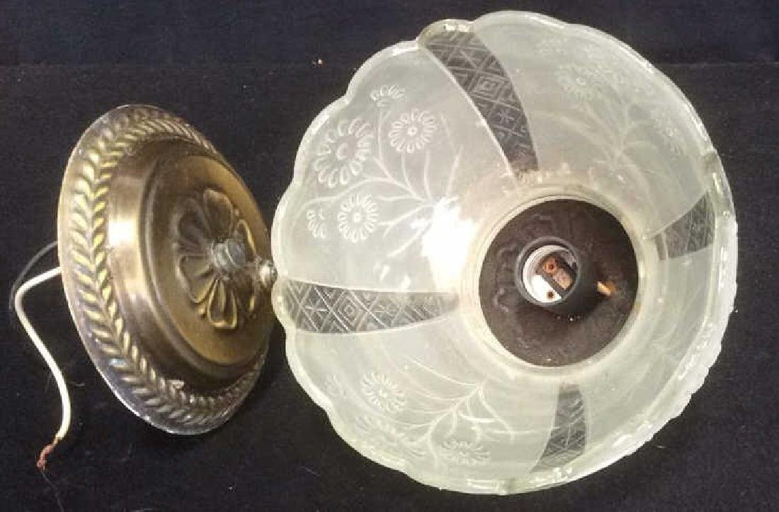 Vintage Brass and Glass Wall Mount Light Fixtures - 4