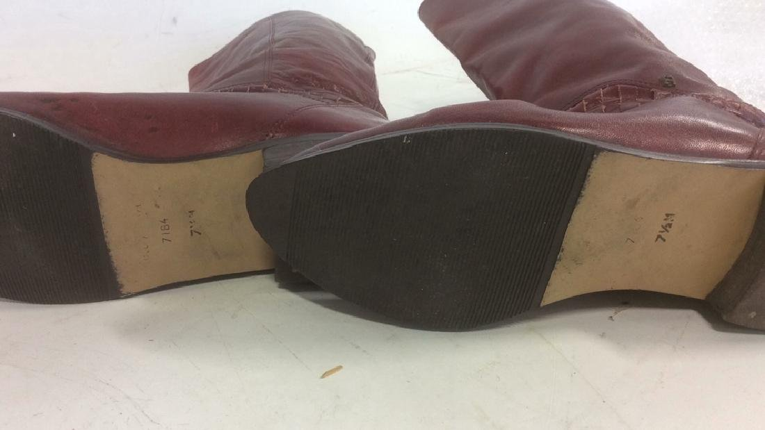 Vintage Aigner  Women's Red Leather Boots Stylish - 4