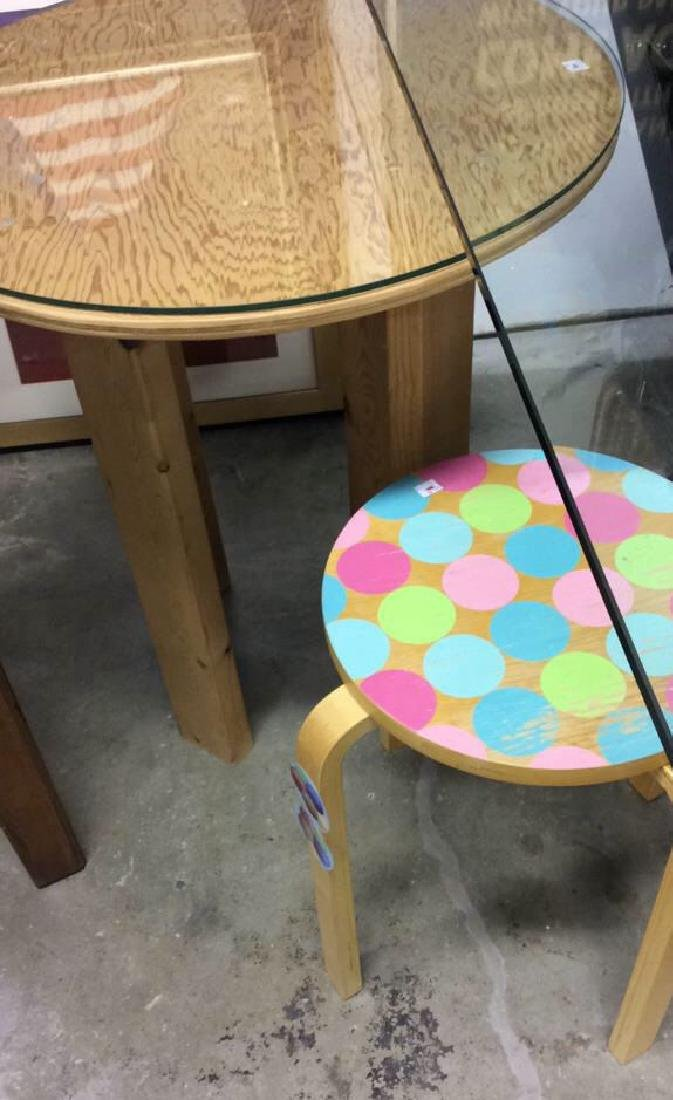 Two Round Wood Form Tables Smaller with painted polka