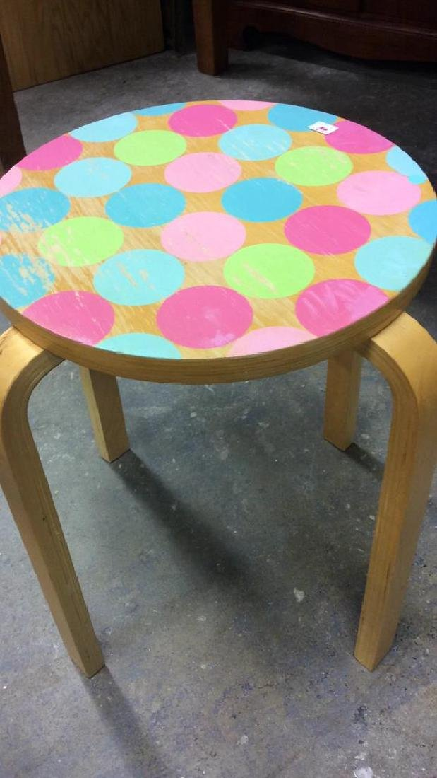 Two Round Wood Form Tables Smaller with painted polka - 2