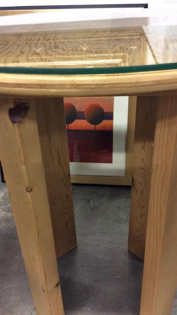 Two Round Wood Form Tables Smaller with painted polka - 4
