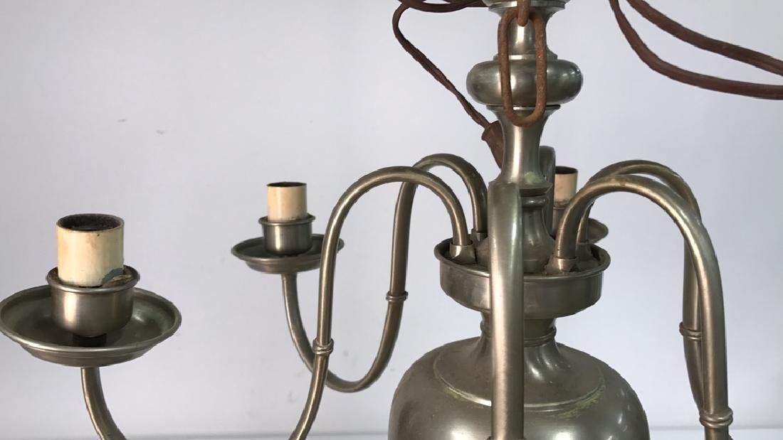 Vintage Six Arm Brushed Chrome Chandelier Measures in - 3