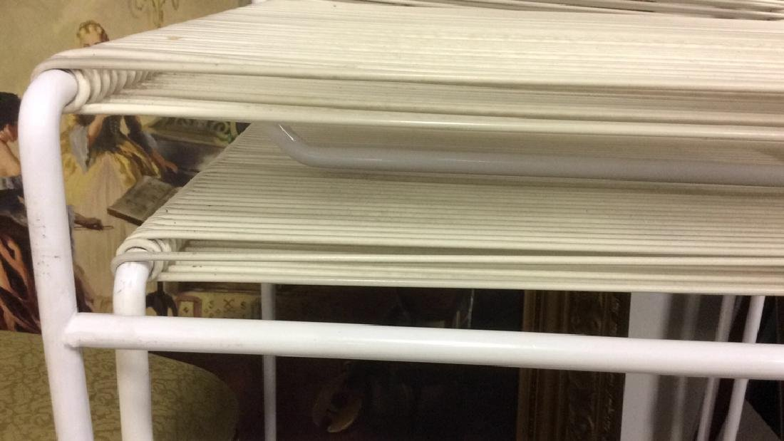Pair White Metal & Banded Out Door Bar Stools Bar - 4