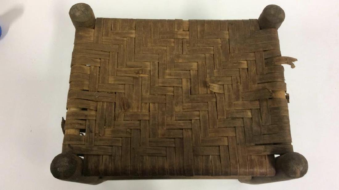 Handwoven Foot Stool A wooden footstool for the legs - 2