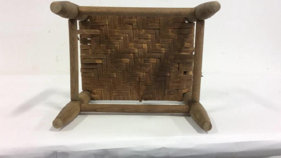 Handwoven Foot Stool A wooden footstool for the legs - 6