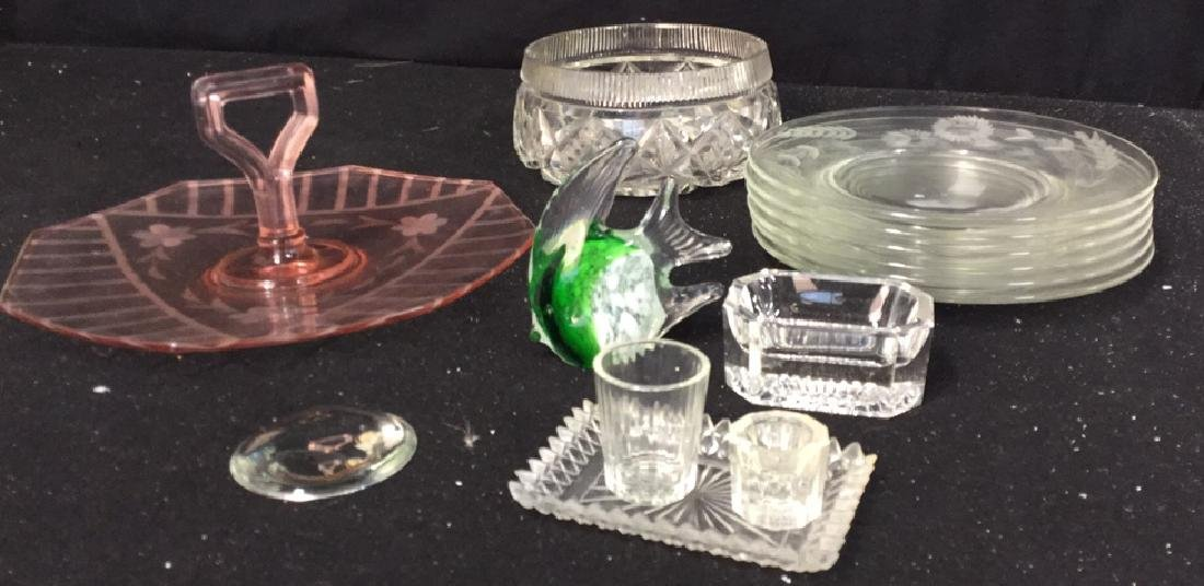 Group Lot Crystal And Glass Tabletops Assorted crystal