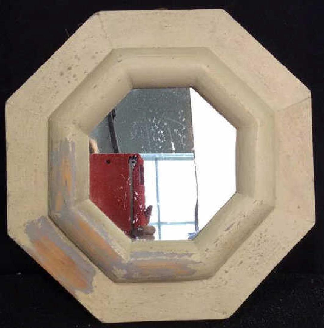 White Washed Octagonal Mirror Wood framed mirror